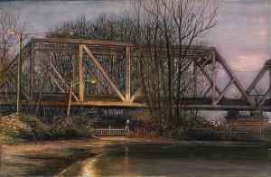 "Hayden Island Railroad Bridge, January, 2011 4.25"" x 6.5"" ink, dye and graphite on board"