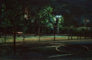 """Peninsula Park Courts, 2009 Ink, dye, graphite on board. 4.25"""" x 6.5"""""""