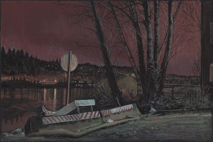 "Southeast Spokane Street and Willamette River, 201511"" x 16""gouache and ink on paper"