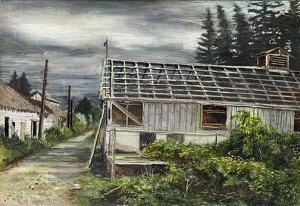 "Pig Farm, Troutdale, 2005 Acrylic, ink, and graphite on wood panel. 5"" x 7"""