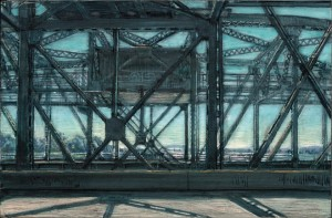 Interstate Bridge Looking East, 2007 4.25 x 6.5 ink, dye and graphite on vinci board