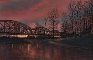 "Hayden Island Railroad Bridge, February, 2011 4.25"" x 6.5"" ink, dye and graphite on board"