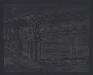 "Sellwood Bridge Construction, 201511"" x 13.5""graphite on paper"