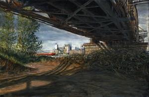 "Hayden Island Railroad Bridge, April, 2011 4.25"" x 6.5"" ink, dye and graphite on board"