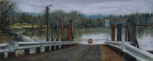 "Westport Ferry Landing, 2013ink, dye and graphite on board10.5"" x 4.25"""