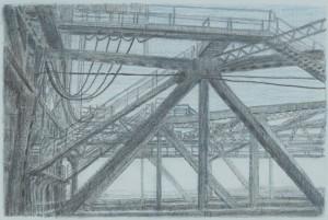 "Interstate Bridge 2, 2007 6"" x 9"" on 10.5 x 15.5 paper graphite and monotype on Arpa handmade paper"