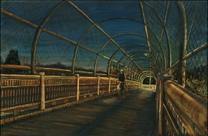 "Atop the Failing Pedestrian Bridge, 2005 Ink, dye, graphite on board. 4.25"" x 6.5"""
