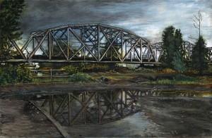 "Hayden Island Railroad Bridge, May, 2011 4.25"" x 6.5"" ink, dye and graphite on board"