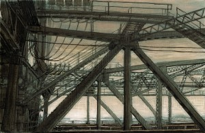 Interstate Bridge Lift Cables and Walkways, 2007 4.25 x 6.5 ink, dye and graphite on vinci board