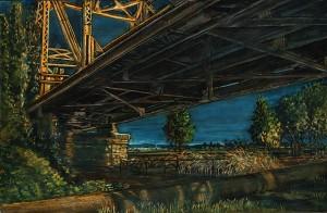 "Hayden Island Railroad Bridge, June, 2011 4.25"" x 6.5"" ink, dye and graphite on board"