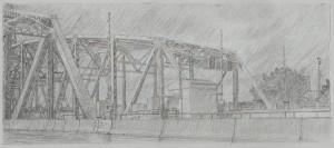 "Interstate Bridge 3, 2007 5"" x 12"" on 10.25 x 15.5 paper graphite and monotype on Arpa handmade paper"