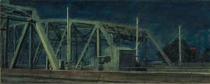 "Interstate Bridge North Gate, 2007 4.25""x 10.5"" ink, dye and graphite on vinci board"
