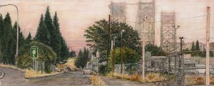 "West 5th and Washington (Pink Vancouver), 2013ink, dye and graphite on board10.5"" x 4.25"""