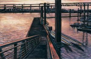 """March 23 III: Dock, 2009 Ink, dye, graphite on board. 4.25"""" x 6.5"""""""