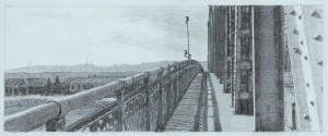 "Interstate Bridge 4, 2007 5"" x 12""  on 10.25 x 15.5 paper graphite and monotype on Arpa handmade paper"