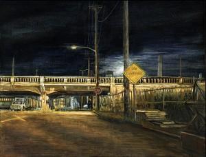 "McLoughlin Boulevard Viaduct, 2005 Ink, dye, graphite on board. 6.5"" x 8.5"""