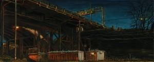 "Steel Bridge Equipment Sheds, 2009 Ink, dye, graphite on board. 4.25"" x 10.5"""
