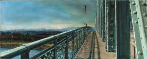"""Interstate Bridge Looking South, 2007 4.25""""x 10.5"""" ink, dye and graphite on vinci board"""