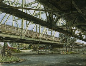 "Under the Interstate Bridge, 20136.5""x 8.5""ink, dye and graphite on board"