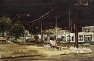 """Southeast Foster Road, 2005 Ink, dye, graphite on board. 4.25"""" x 6.5"""""""