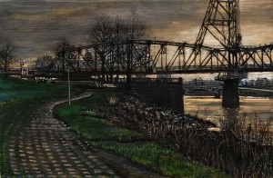 "March 23 IV: Hawthorne Bridge, 2009 Ink, dye, graphite on board. 4.25"" x 6.5"""