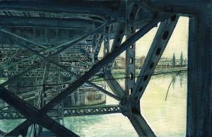 "Inside the Morrison Bridge 4.25""x 6.5"", ink, dye and graphite on board"
