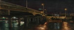 "Hayden Island Bridge, 2007 4.25""x 10.5"" ink, dye and graphite on vinci board"