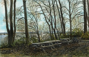 """Kelley Point Park, November, 2013 ink, dye and graphite on board 4.25"""" x 6.5"""""""
