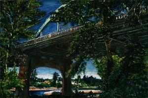 "McLoughlin Boulevard and Clackamas River, 2009 Ink, dye, graphite on board. 4.25"" x 6.5"""