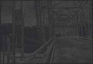 "Bridge of the Gods, 201510"" x 14""graphite on paper"