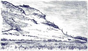 "Jordan Valley II, 2015 Ink and monotype on Arches 88 paper6"" x 10.25"" (Paper is 12x 16)"