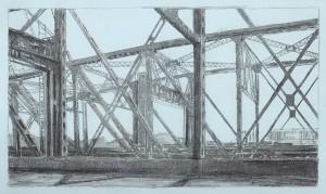 "Interstate Bridge 5, 2007 5"" x 9"" on 10.25 x 15.5 paper graphite and monotype on Arpa handmade paper"