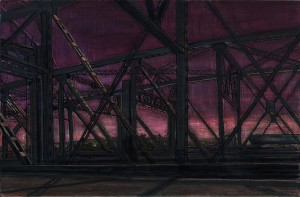 Interstate Bridge Violet Sky, 2007 4.25 x 6.5  ink, dye and graphite on vinci board