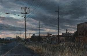 "Outside Longview, 2013ink, dye and graphite on board4.25"" x 6.5"""