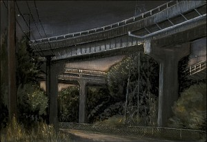 """Under the Ross Island Bridge Looking North, 2005 Acrylic, ink, and graphite on wood panel. 5"""" x 7"""""""