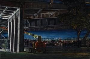"Construction Under Steel Bridge, 2009 Ink, dye, graphite on board. 4.25"" x 6.5"""