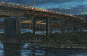 "Dalles Bridge, 2013ink, dye and graphite on board4.25"" x 6.5"""