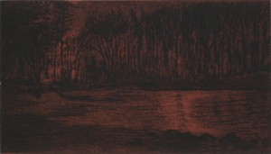 "Kelley Point Park, Night (Red), 2013Drypoint and chine colle4.125"" x 7.25"" (Paper is 11x 15)"