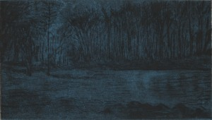 """Kelley Point Park, Night, 2013 Drypoint and chine colle 4.125"""" x 7.25"""" (Paper is 11x 15)"""