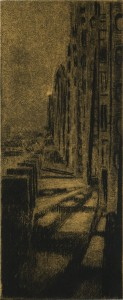 "Interstate Bridge Walkway, 2013 Drypoint and chine colle 7.75"" x 3.25"" (Paper is 15""x 11"")"
