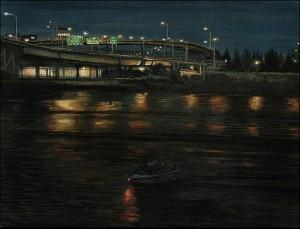"""Morrison Bridge From The Willamette, 2005 Ink, dye, graphite on board. 6.5"""" x 8.5"""""""