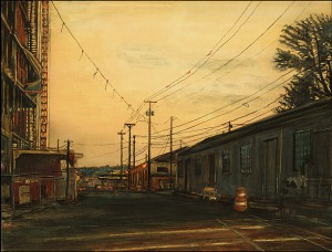"""Construction on Southwest Moody, 2005 Ink, dye, graphite on board. 6.5"""" x 8.5"""""""