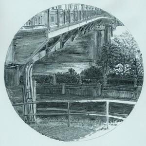 "Interstate Bridge 8, 2007 7"" (paper size 14 x 9.75) monotype on Arpa handmade paper"