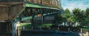 "Interstate Bridge Underpass, 2007 4.25"" x 10.5"" ink, dye and graphite on vinci board"