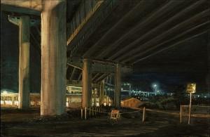 "Marquam Bridge From Under I-5, 2005 Ink, dye, graphite on board. 4.25"" x 6.5"""