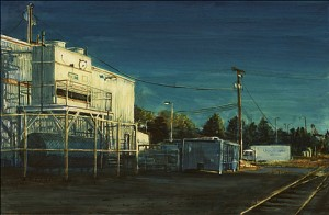 "Astoria By the Tracks, 2005 Ink, dye, graphite on board. 4.25"" x 6.5"""