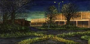 """Former Parking Lot, Southeast 82nd Avenue, 2002 Ink, dye, graphite on board. 5"""" x 9"""""""
