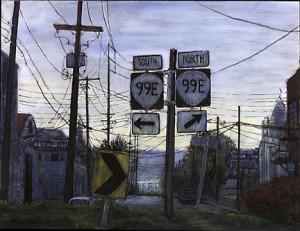 """99E At NE Hancock, 2000. Ink, dye, graphite on board. 6.5"""" x 8.5"""""""