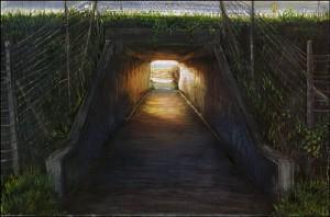 """Agate Beach Under Highway 101, 2002 Ink, dye, graphite on board. 4.25"""" x 6.5"""""""