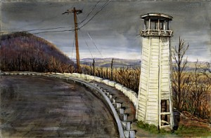 """Allegheny Lighthouse, 2003 Ink, dye, graphite on board. 4.25"""" x 6.5"""""""